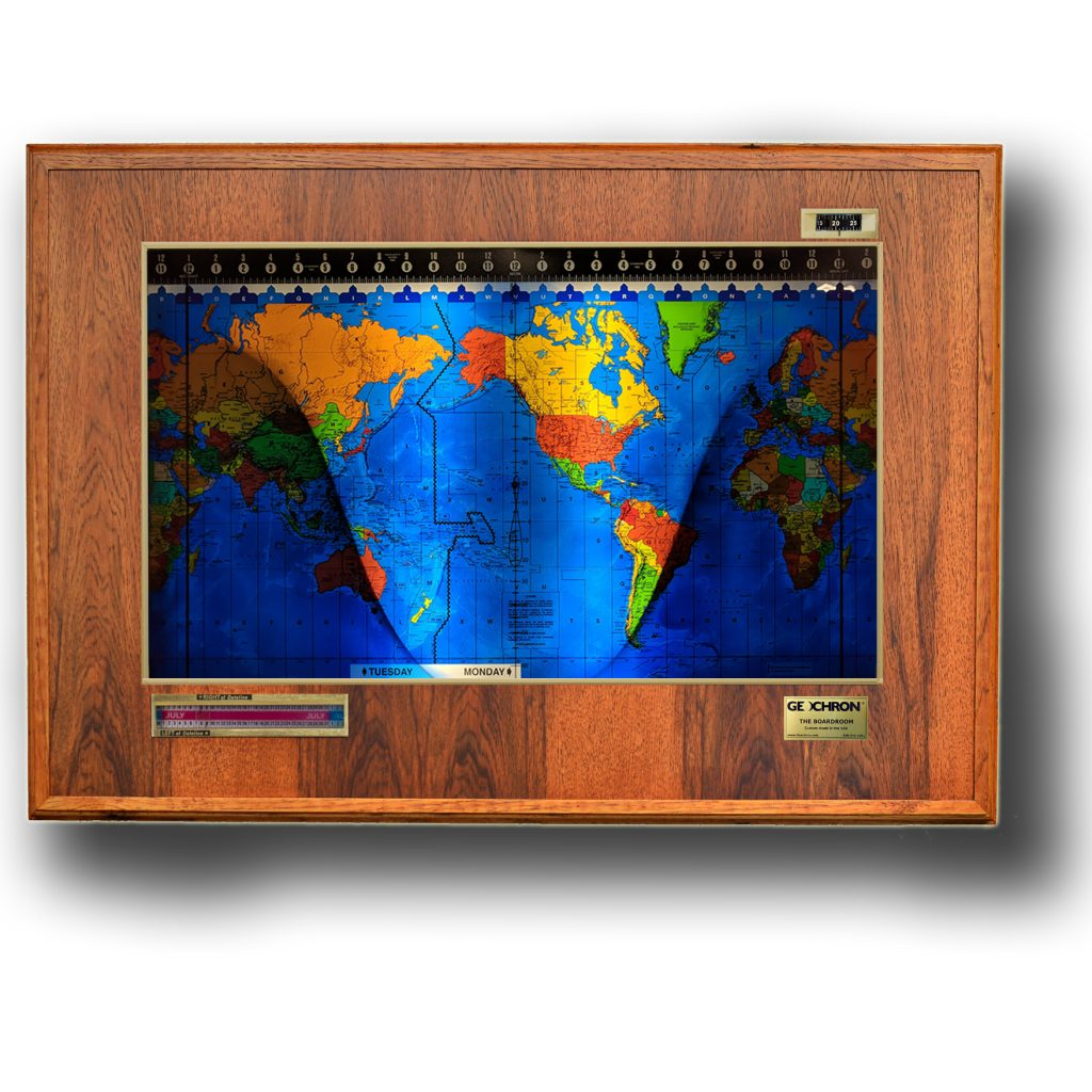 A Geochron Boardroom Edition with Hickory finish, Gold trim, and a Premium Geopolitical mapset